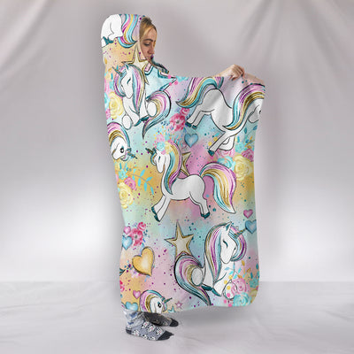 Unicorn Flowers Hearts And Stars Pattern Hooded Blanket