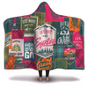 Camping Patchwork Pink Orange Green Pattern Hooded Blanket
