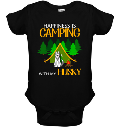 Happiness Is Camping With My Husky T Shirt