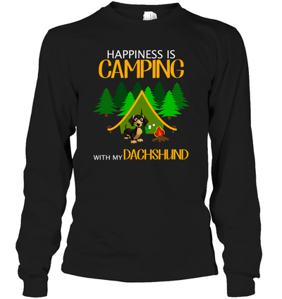 Happiness Is Camping With My Dachshund T Shirt
