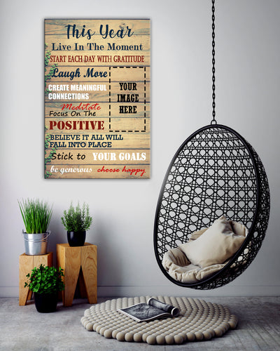 Live In The Moment Choose Happy Horse Custom Canvas Print
