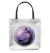 An Owl And A Dog At Night Tote Bags