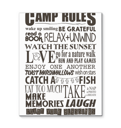 Camp Rules Canvas Print