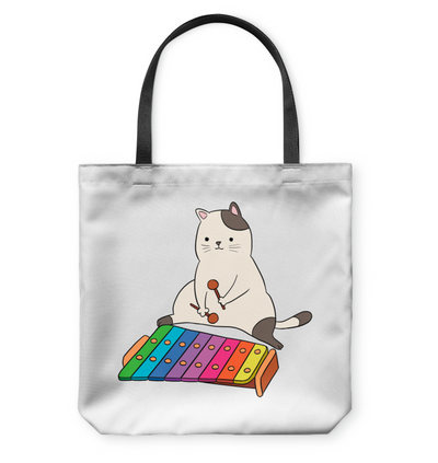 Cat Is Playing Xylophone Tote Bag