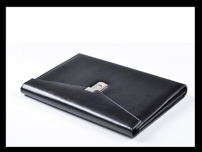 A4 Black Leather Padfolio Men Business Password Lock Document Folders