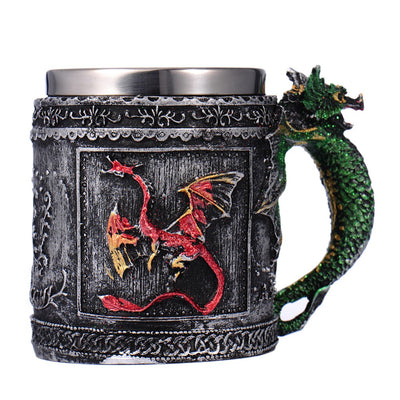 Double Wall Stainless Steel 3D Skull Knight Tankard Dragon Mug