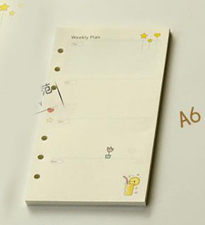 Colored Spiral Notebook Inner Pages 6 Holes Diario Binder Paper
