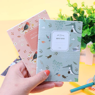 Kawaii Cute Flowers Birds Animal Notebook Painting of Diary Book