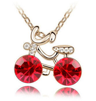 New Fashion Design Crystal Bicycle Necklace
