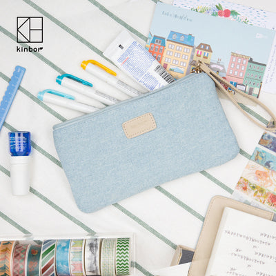 Cute Fabric Pencil Bag Jean Cloth Makeup Pencil Cases