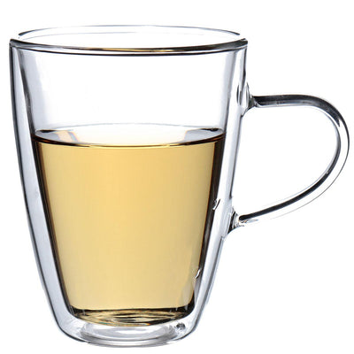 Durable 350mL Handmade Heat Resistant Double Wall Glass Drink Mug