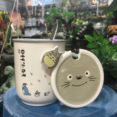 Cartoon Cat Coffee Ceramic Mug Cup With Lid Birthday Lovely Gifts