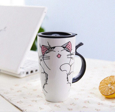 Cute Cat Ceramics Mug With Lid Large Capacity Mug Lovely Gifts