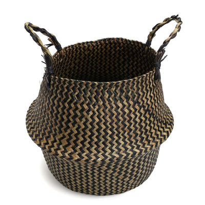 Large Laundry Basket Vintage Rattan Flower Vases Straw Planter Wood