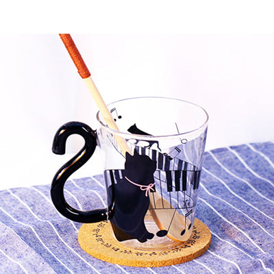 Outstock - Personality Cat Kitty Glass Mug Tea Cup Music Party Home Office Cup