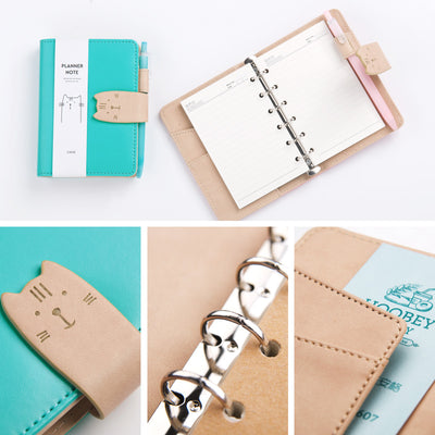 Kawaii Cat Mini Leather Planner Notepad Pockets Notebook