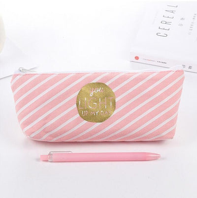 Pink Princess Striped Dots Grids Canvas Pen Pencil Cases