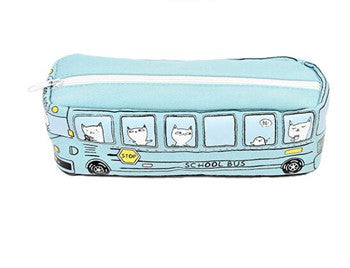 Cartoon Cat Pencil Cases Bus School