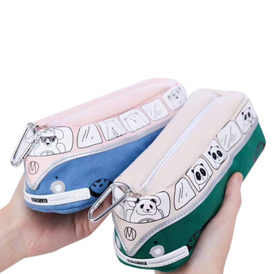 Students Kids Animals School Bus Pencil Cases