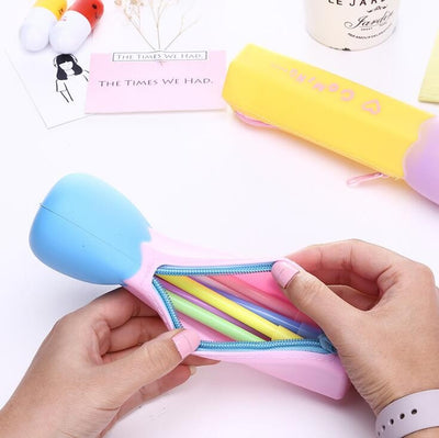 Candy Color Match Stick Shape Silicone Waterproof Pencil Cases