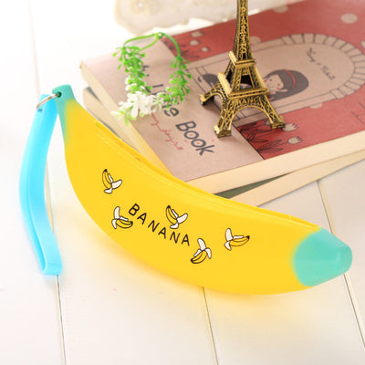 Creative Purse Silicone Funny Banana Shape Bag Zipped Pencil Cases