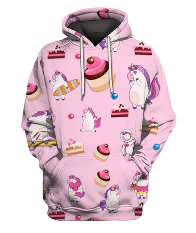 Pink Cartoon Magic Cute 3D Unicorns With Cake All Over Printed Apparel