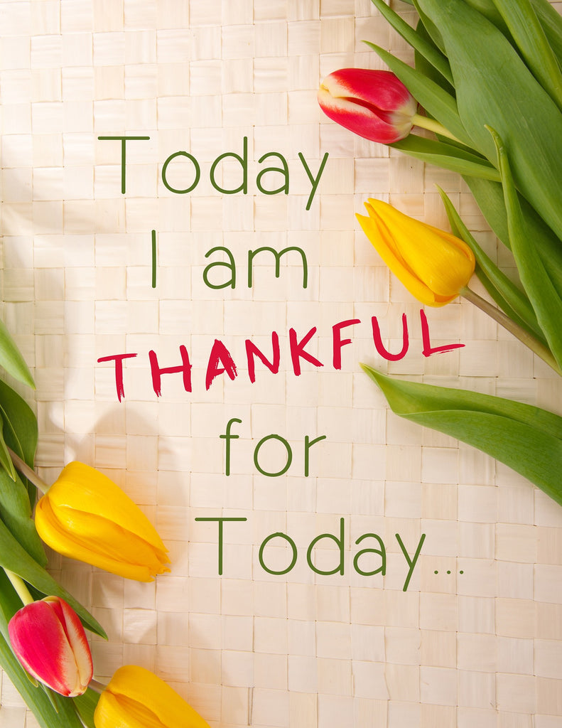 """ONE simple step to improve your sleep and ultimately take your life to the next level - image of red and yellow tulips and written: """"today i am thankful for today"""""""