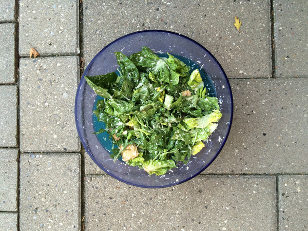 Award Winning Vegan Ceasar Salad in the Danish summer sun