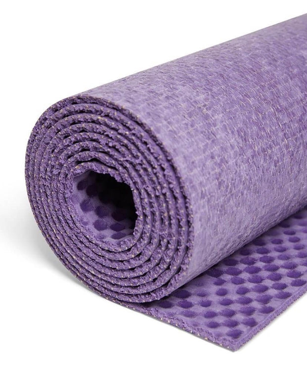 4mm Natural Eco Yoga Mat - Made from Natural Biodegradable Materials - Purple - Close Up - S