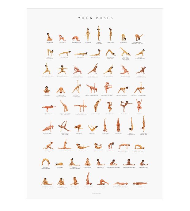 Yoga Poses Poster Size 50cm X 70cm Complete Unity Yoga