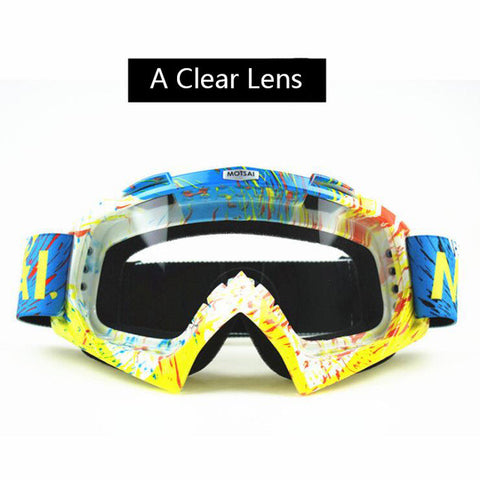 Yellow and Blue Clear Lens Motocross Goggles