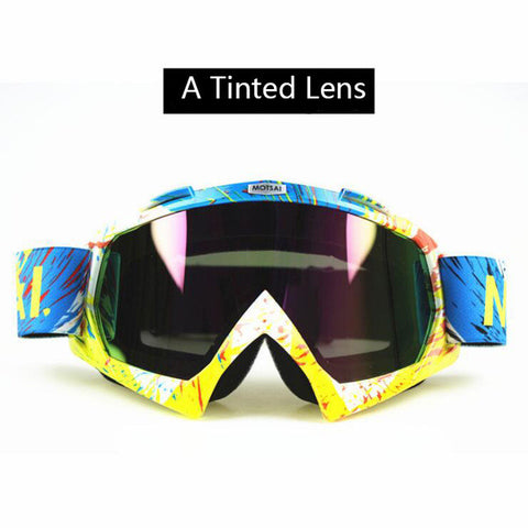 Yellow and Blue  Tinted Lens Motocross Goggles