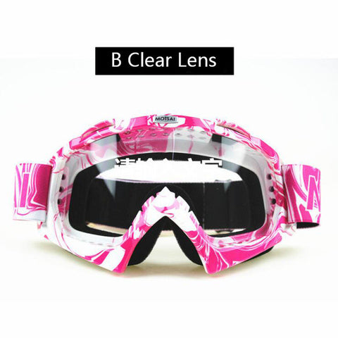 Pink and White Motocross Goggles