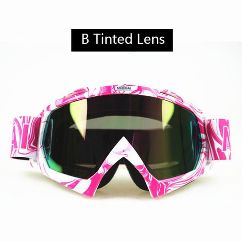 Pink and White Tinted Lens Motocross Goggles