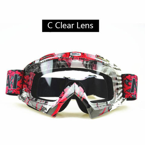Red and Silver Clear Lens Motocross Goggles