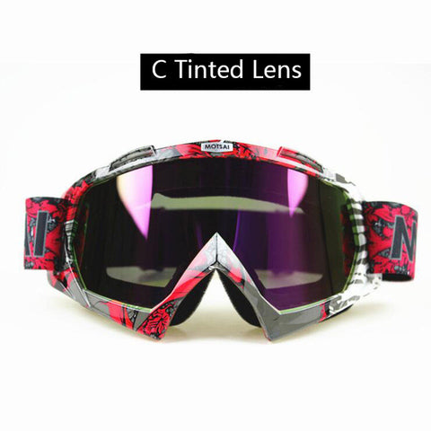 Red and Silver Tinted Lens Motocross Goggles