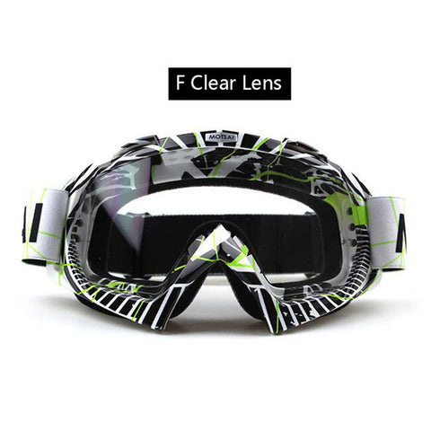 Black and White Clear Lens Motocross Goggles