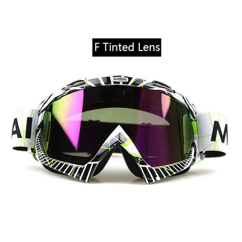 Black and White Tinted Lens Motocross Goggles