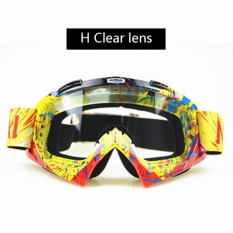 Red and Yellow Clear Lens Motocross Goggles