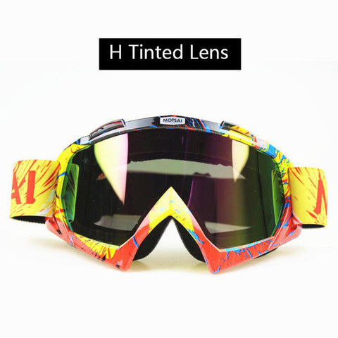 Red and Yellow Tinted Lens Motocross Goggles