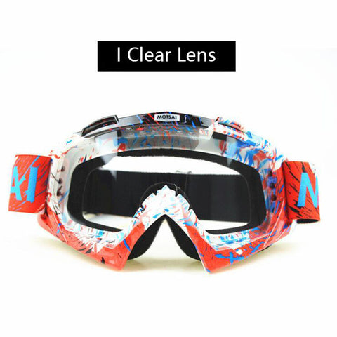 Red and White Clear Lens Motocross Goggles
