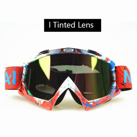 Orange and Blue Motocross Goggles