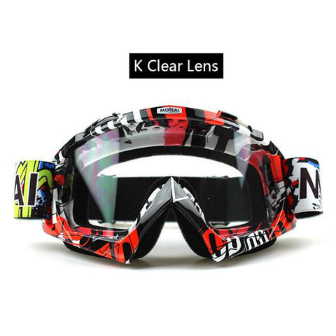 Red and Black Clear Lens Motocross Goggles