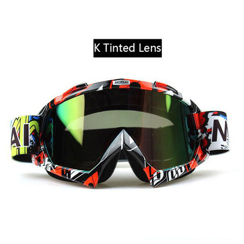 Red and Black Tinted Lens Motocross Goggles