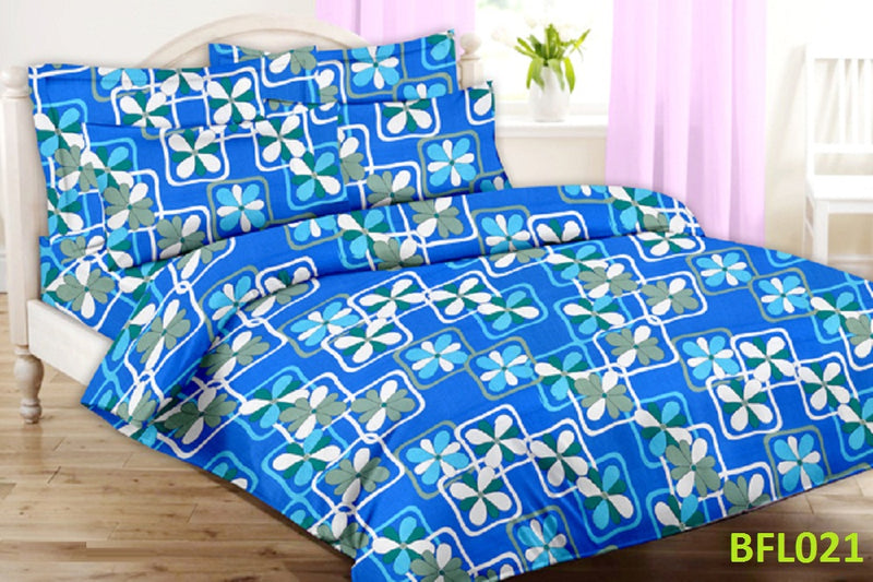 Florista Blue and White Pattern Double Bedsheet