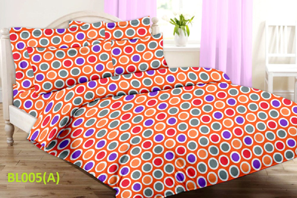 Blossom Multi-Colour Round Pattern Double Bedsheet