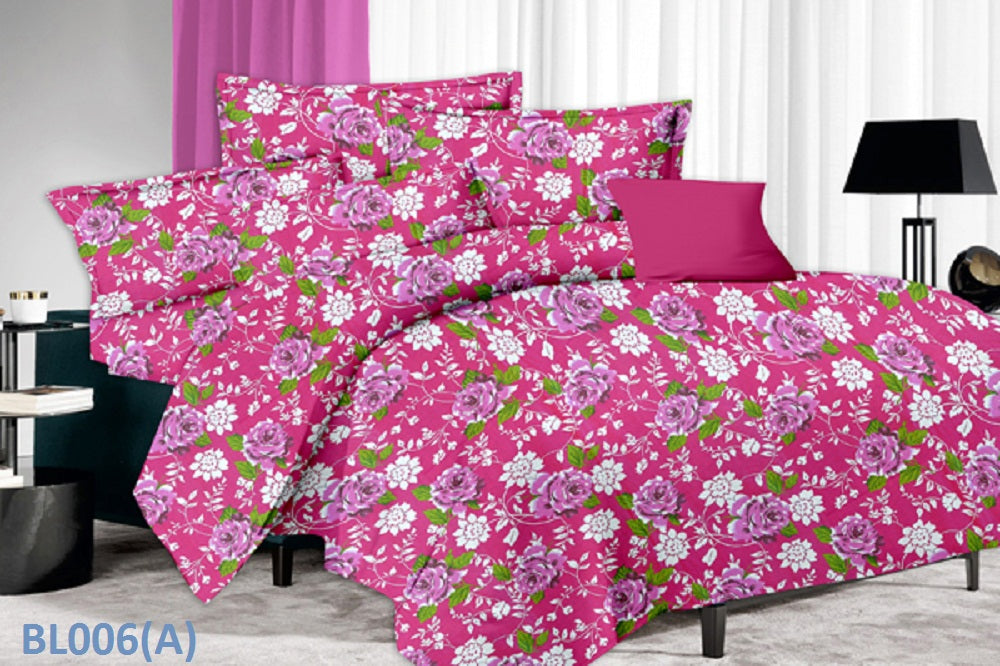 Blossom Sunflower and Rose Pattern Double Bedsheet