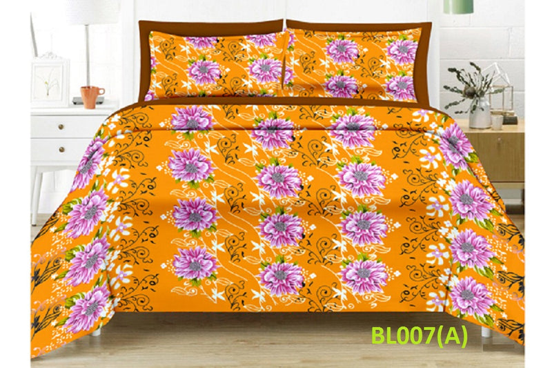 Blossom Dahlia Floral Pattern Double Bedsheet