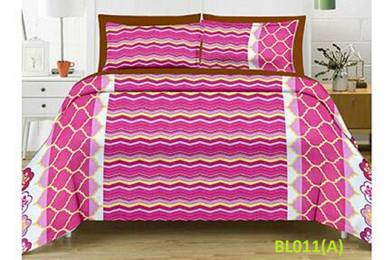 Blossom Striped Zig-Zag Pattern Double Bedsheet