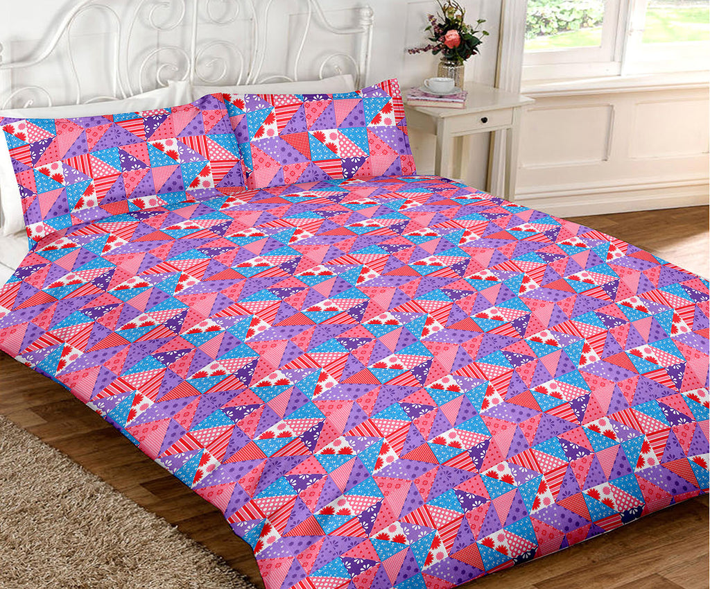 Blossom King-size Geometrical Shaped Pattern Double Bedsheet
